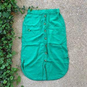 Anthropologie Kelly Green Button Skirt